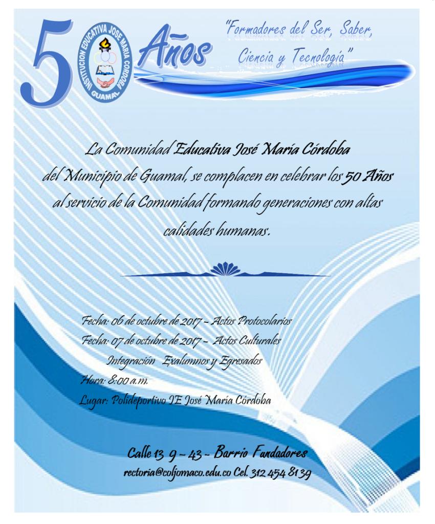 Invitación 50 Años Coljomaco Institución Educativa José
